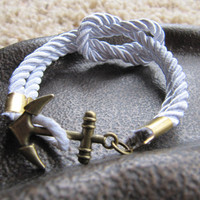USA Seller - White Anchor Clasp Braided Nautical Knot Satin Cord Bracelet