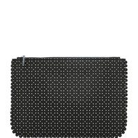 Perforated Leather Zip-Top Clutch
