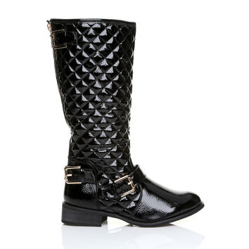 CARMEN Black Patent PU Leather Block Low Heel Quilted High Calf Winter Boots