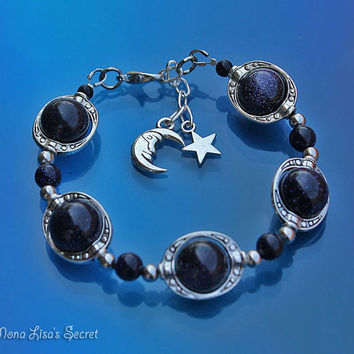 Blue Goldstone Galaxy Bracelet, Moon and Star Bracelet, Celestial Bracelet, Blue Goldstone Jewelry, Mother's Day Gift, Moon Star and Planets