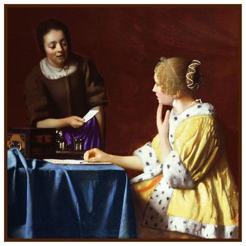 Maid Delivering a Letter by Johannes Vermeer Counted Cross Stitch or Counted Needlepoint Pattern