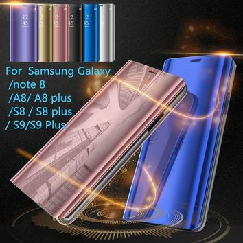 2018 HOT Sleep Wake UP Flip Leather Stand Holder Case Cover for Samsung Galaxy A8 samsung galaxy A8plus Galaxy S8 Plus  6.2inch
