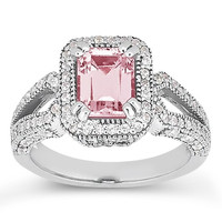 5.01 carats Pink halo emerald diamond white gold 14K anniversary ring