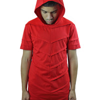 Chevron - Soaked In Red - Short Sleeve Hoodie