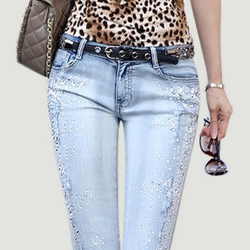 new Jeans woman rhinestones pencil jeans wash denim jeans trousers skinny fashion pants