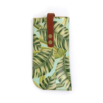 Leather Sunglasses Case - Tropical