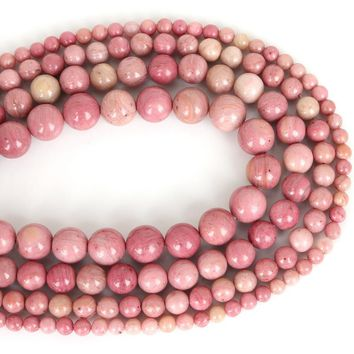 """Rhodonite: 4-12mm Round natural Rhodochrosite Stone Beads Pink Beads DIY Beads For Jewelry Making Strand 15"""" Wholesale !"""