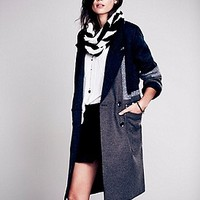 Colorblock Long Wool Coat