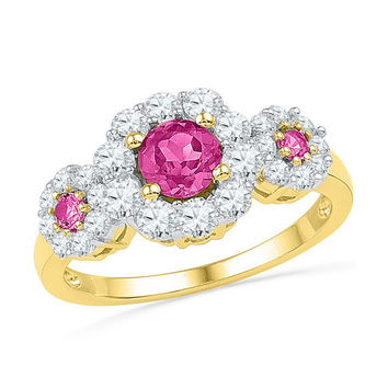 10k Yellow Gold 1.75 ctw Diamond Pink Sapphire 3 Stone Ring: Size 7 (Sizeable)