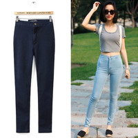 Women Skinny Stretch Denim Jeans Trouser High Waist Long Pencil Pant S-XL