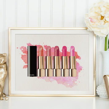 COCO CHANEL LIPSTICK,Makeup Print,Gift For Birthday,Gift For Wife,Gift For Her,Makeup Art,Fashion Print,Lipstick Art,Beauty Print,Glam Room