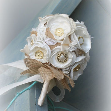 Country Shabby Chic Bouquet - Burlap and Satin Bouquet - Bridal Bouquet - Rustic Burlap Bouquet