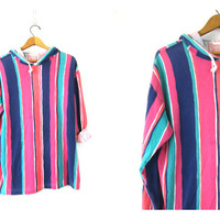 Rugby tee Shirt 90s Striped Hooded Pullover Top Pink Orange Purple Oversized Thin baggy Hipster Shirt with Hood Women's Size Large