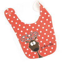 Reindeer Baby Bib - Red - Personalized