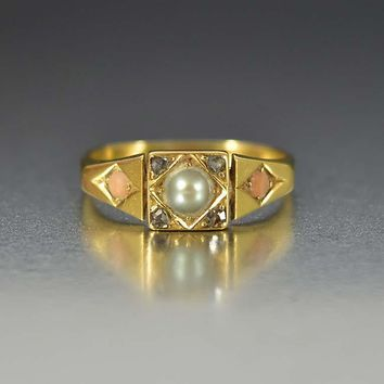 Edwardian Coral Pearl and Diamond 18K Gold Ring