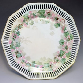 Hand Painted Reticulated Cabinet Plate Schumann Bavaria Signed Pink Floral Green Germany