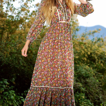 70s Maxi Dress, CANDI JONES Cotton Prairie Dress, Gauze + Lace Corset Dress, Long Sleeve Boho Dress, 1970s Hippie Dress Festival Dress Small