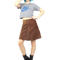 Vintage Leather Mini Skirt Mod Leather Skirt Brown Suede Mini Skirt Button Up Front Flared Grunge Hipster Boho Hippie Leather Skirt (S)