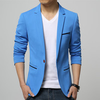 Mens Korean slim fit fashion cotton blazer Suits Jacket black blue beige plus size M to 5XL Male blazers Mens coat Wedding dress