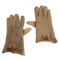 Faux Suede Gloves With Mini Faux Fur Accent