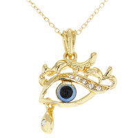 """Gold Tone Clear Crystal Turkish Blue Evil Eye Pendant Necklace 19"""""""