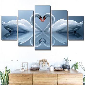 Heart Shaped White Swans Canvas Print Wall Picture for Living Room