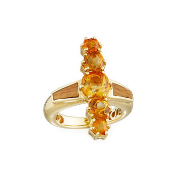 Silvia Furmanovich Marquetry Brown Wood & Citrine Ring