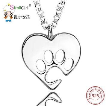 Silver Love Heart Paw Necklace Girl 925 Sterling Silver Chain Dog Paw Love Heart Pendants & Necklaces For Women Fashion Jewelry