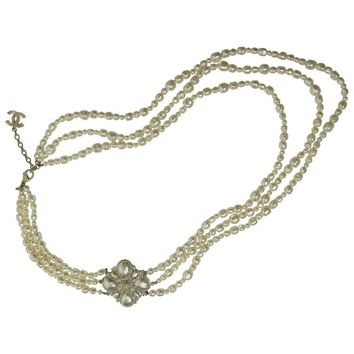 2012 Chanel Three Strand Faux Pearl Necklace