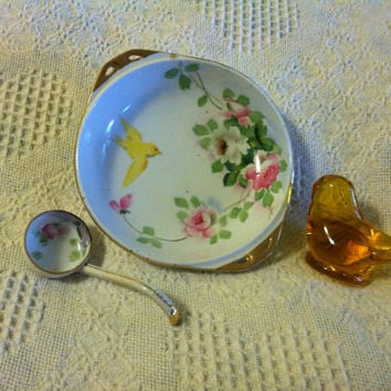 Nippon Antique Floral Bird Hand Painted Porcelain Condiment Plate With Ladle Collectible 1891 to 1911 Salad Candy Relish Fruit Ceramic Dish