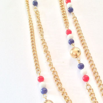 Red White Blue Glass Necklace Art Deco Inspired Flapper Beads Vintage Jewelry