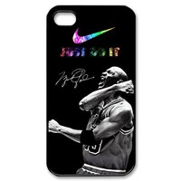 Chicago Bulls Michael Jordan Iphone 4 4S With Nike-Just Do It Hard Protector Case