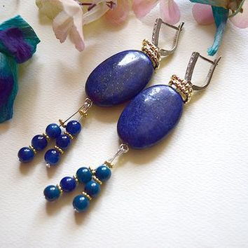 Lapis Lazuli and agate stone drop down fashion earrings 925 silver cluster earrings lock
