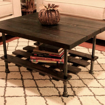 Steel and Pine Wood Coffee Table with Crossed Wooden Plank Shelf