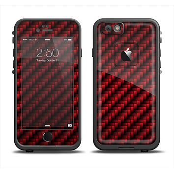 The Glossy Red Carbon Fiber Apple iPhone 6 LifeProof Fre Case Skin Set