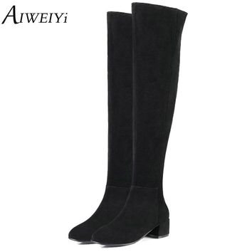 AIWEIYi Over The Knee Faux Suede Snow Boots For Ugs Women Winter Boots Casual Thigh High Boots Shoes Woman Zapatillas Mujer