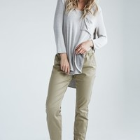 Bullhead Denim Co. Snap Ankle Chino Jogger Pants - Womens Pants - Brown