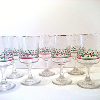 Vintage Holiday Stemware, Christmas, Gold Trim, Holly, Drinking Glasses, Dinnerware, Serving Supplies, Home and Living, Home Decor, 1980's,
