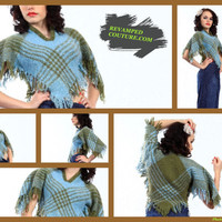 50s Vintage Jules Tabach poncho cover up plaid cropped short fringe top olive blue