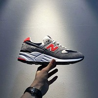 """New Balance"" Fashion Casual All-match N Words Breathable Couple Sneakers Shoes Grey(orange red N) I-A0-HXYDXPF"