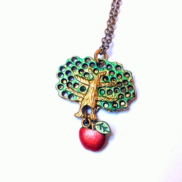 Tree of Life necklace, Sacred Tree pendant, Tree of the Knowledge of Good and Evil, apple tree charm