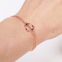 Rose Gold Anchor Bracelet,  Rose Gold Sideways Double Chained Anchor Bracelet, Wedding, Brides Maids Gift