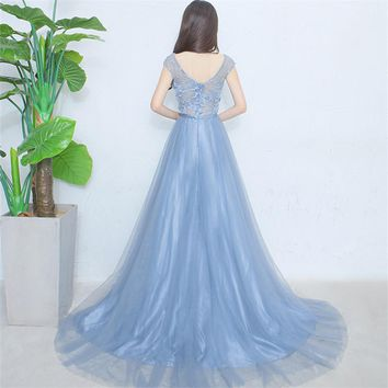 Tulle Flowers Floral Backless Zipper Elegant Evening Dress Floor Length Party Gown Evening Gowns