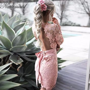 NATTEMAID 2017 Autumn Women Vintage Lace Dress Long Sleeve Black Bodycon Sexy Party Dress Back tie up vestidos