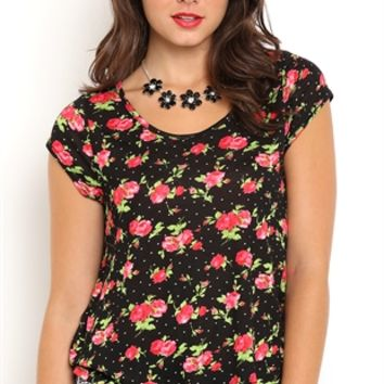 High Low Floral Print Tee with Lace Back