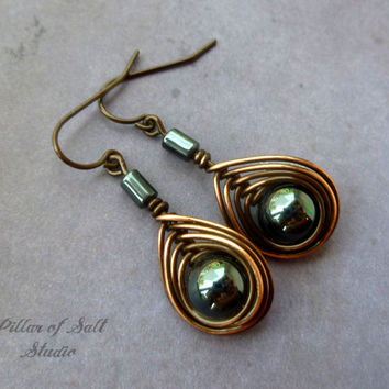 Copper wire wrapped earrings, wire wrapped jewelry handmade, wire jewelry, copper jewelry, black hematite, earthy jewelry, boho