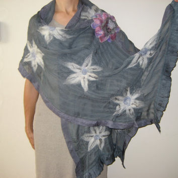 SALE Nuno felt grey shawl wrap scarf, viscose, gray, white flower decoration