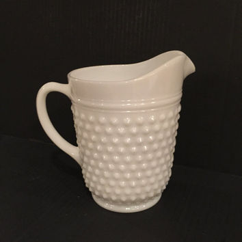 Anchor Hocking Hobnail Milk Glass Pitcher