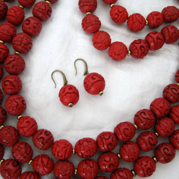 Vintage Carved Cinnabar Bead 3 strand Necklace and Earrings