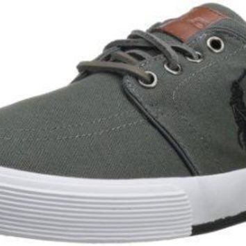 Polo Ralph Lauren Men's Faxon Low Sneaker,Deepgrey/Polo Black,10 M US